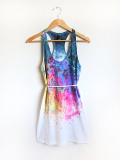 Splash Dyed Hand PAINTED Scoop Neck Racerback by twostringjane, $65.00