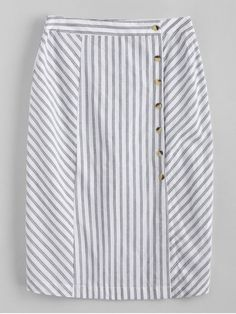 Shop for Side Button Stripes Midi Skirt WHITE: Skirts L at ZAFUL. Only $18.49 and free shipping!