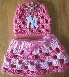 NEWBORN baby girl  Crown Baseball outfit hat & by citlalyknits