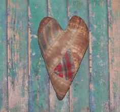 Primitive Americana Valentine Heart, handmade by Prairie Primitives Folk Art.