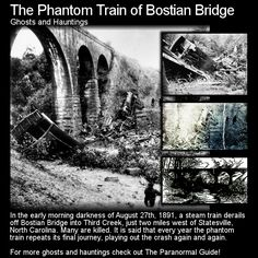 The Phantom Train of Bostian Bridge. When you go out looking for urban legends make sure you take care, pay attention... and stay off the tracks! Head to this link for the full article: http://www.theparanormalguide.com/1/post/2013/02/the-phantom-train-of-bostian-bridge.html