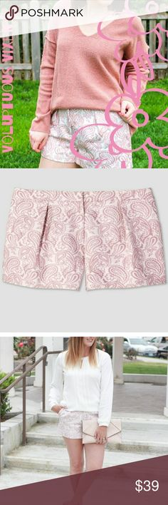 {PLUS}Victoria Beckham Pretty Paisley Dress Shorts So pretty! Lovely pink and white paisley print dress shorts by Victoria Beckham. I bought these for myself, but unfortunately I have bird legs and they are just too big in the thigh area. So, my loss is your gain!! They fit true to size and are very comfortable. One pleat on each side in the front with a zipper and hook closure. Thanks for looking and Happy Poshing!! Lynnette Victoria Beckham Shorts