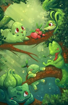 Pokemon All the Grass type starters...Except the new one, Chespin.