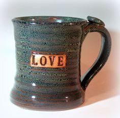 Large Pottery Coffee Mug Blue Green by LaurenBauschOriginal, $20.00