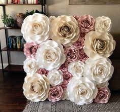 How to Make Awesome Wedding Decorations on a Budget - Paper Flower Backdrops paper roses flower wall. Paper Flower Decor, Paper Flowers Wedding, Flower Decorations, Flower Wall Backdrop, Wall Backdrops, Paper Peonies, Paper Roses, Giant Paper Flowers, Diy Flowers