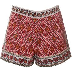 Cream and Red Embroidered Shorts ($93) ❤ liked on Polyvore