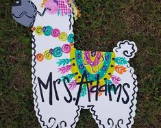 Hand painted Llama door hanger/ Llama sign/llama painting/teacher class sign/llama classroom