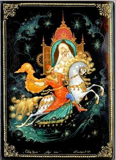 Russian lacquer miniature from the village of Kholuy. A fairy tale princess in a nice kokoshnik (a headdress) and a fairy tale prince on a white horse.