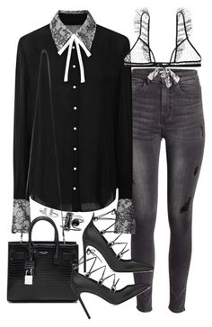 """Untitled #19201"" by florencia95 ❤ liked on Polyvore featuring moda, H&M, Honor ve Yves Saint Laurent"