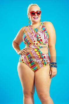 658afb2369e03 Havana Bandage Plus Size Swimsuit - Red Multi Print