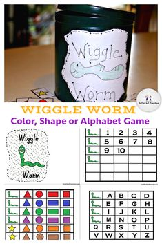 Preschoolers circle time games - Wiggle around periodically while learning alphabet, numbers and wiggle worm color shape game.
