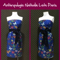 """Anthro """"Butterfly Net Dress"""" by Nathalie Lete Removable belt sash, strapless.  Great condition. **  Prices are as listed- Nonnegotiable.  I'm happy to bundle to save shipping costs, but there are no additional discounts.  No trades, paypal or condescending terms of endearment  ** Anthropologie Dresses"""