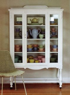 Display cabinet of Grindley and McCoy pottery. Love the cabinet! Furniture Projects, Furniture Makeover, Home Furniture, Dresser Makeovers, Furniture Design, Shabby, Repurposed Furniture, Painted Furniture, Tea Cup Display