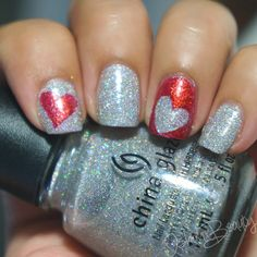 Holographic Hearts Tape Manicure #nails