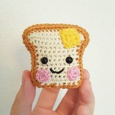 Present for a good old friend: Cute little toast!   Mrs. Toasty--amigurumi buttered toast.