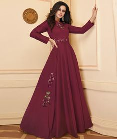 Abaya Fashion, Ethnic Fashion, Gown Style Dress, Gown Party Wear, Cheap Gowns, Printed Gowns, Silk Gown, Indian Ethnic Wear, How To Dye Fabric