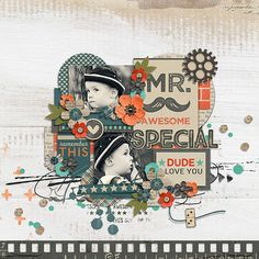 """A digital scrapbooking collection by Blagovesta Gosheva, """"Mr. Awesome"""" is versatile and perfect to scrap pictures of the loved guys in your life."""