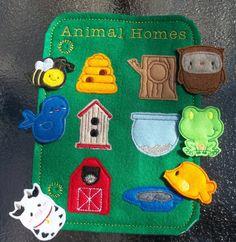 Learn Animal Homes Teach Felt Game Busy Book Felt Board Flannel Board Page Storage w pieces Bee Bird Cow Fish Frog Owl Hive Barn Tree Pond +