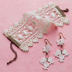 Lace bracelet/earrings. I may cut a piece off my wedding dress and do this! Yeah! someday..