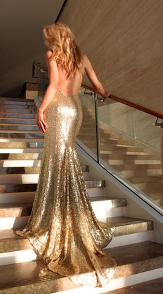 Gold Goddess backless with train Gold sequin for formal or Prom by Studio Minc