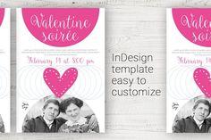 Valentine flyer InDesign template by guylaine's design on @creativemarket
