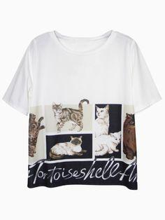 Cat Photo Print T-shirt | Choies