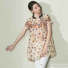 Pink dotted silk sundress women long shirt plus size top blouse