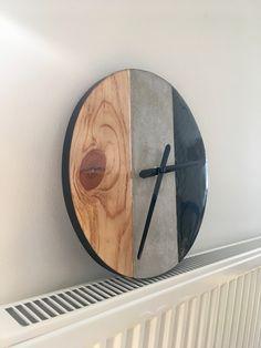 Wood-Concrete-Carbon Clock  Holz-Beton-Carbon Uhr Wood Concrete, Beton Diy, Kitchen, Timber Wood, Crafting, Cooking, Kitchens, Cuisine, Cucina