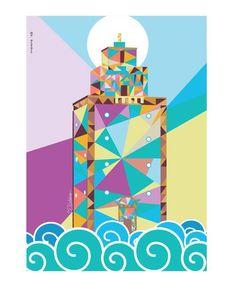 Benghazi lighthouse #Benghazi #Libya #libyan #sea #pop-art #pop-artist #illustration #Alla-Budabbus #Ala-Bodabose #Light-House #Beach #Colors