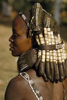 Africa   Mwila tribeswoman Angola. Beautiful hair sculpture, tribal dreads Humpata, Volkmar Wentzel