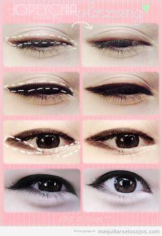 Tutorial paso a paso para maquillaje los ojos estilo coreano, ulzzang