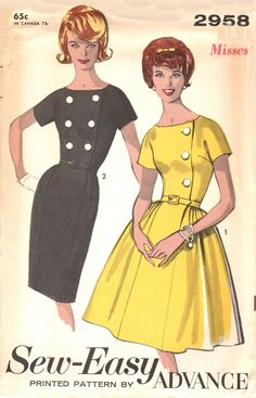 Advance 2958 Magical Dress with Two Skirts / ca. 1962