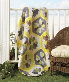 Cute quilt, grays and yellow @Tiffany Stearnes