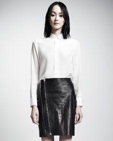 Saint Laurent Leather Zip-Front Skirt