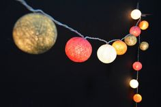20 Lights - Candy Tone 4 Color Cotton Ball String Lights Fairy Lights Patio Lights Wedding Lights Decoration Lights