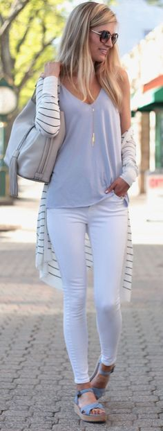 Summer outfit ideas with a long striped cardigan - - Fashion Trends for Girls and Teens Mode Outfits, Casual Outfits, Fashion Outfits, Womens Fashion, Fashion Ideas, Casual Jeans, Jeans Fashion, Ladies Fashion, Dress Fashion
