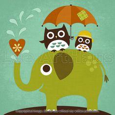 53R Retro Owls on Elephant 6x6 Print by leearthaus on Etsy