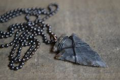 Mens Arrowhead Necklace, Men's Leather Necklace, Man Gift, Boy Gift, Male Gift, Father's day, Son Gift
