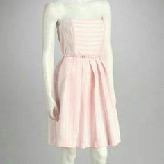 Belted Strapless Pink Dress