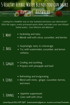 5 Healthy Herbal Water blends you can make anytime, anywhere. Sports Drink, Simple Way, 5 Ways, Something To Do, Herbalism, Canning, Healthy, Water, How To Make