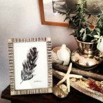 Midnight blue and black Ink Feather in hand painted frame. By Juju Roche - www.jujuroche.com.au