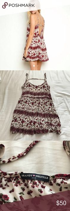 RARE Brandy Melville Rose Jada Dress PERFECT CONDITION! Super cute & flowy. The perfect dainty, little dress you'd need in your closet for the spring & summer! Straps are adjustable.  ❗️PLEASE READ ❗️ ×  NO TRADES! ×  Reasonable offers accepted - PLEASE be mindful of Posh fees when offering! ×  Smoke-free & pet-free home ×  Freebies ARE included with every purchase 💓 ×  Comment for any questions regarding the item! Brandy Melville Dresses