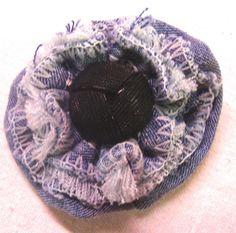repurposed denim flower with vintage button center