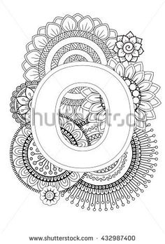 Doodle Floral Letters. Coloring Book For Adult. Mandala and Sunflower. ABC book. Isolated Vector Elements. Capital Letter English Alphabet - stock vector