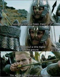 What I really like about this scene isn't the way Legolas stands up for Gimli (which is cool), but it's the fact that Legolas notched an arrow in his bow in maybe a little over a second.
