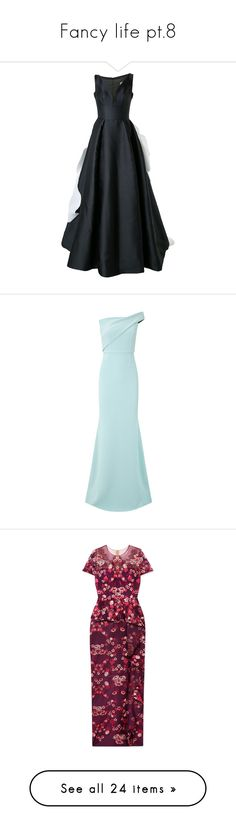 """Fancy life pt.8"" by olivia-mr ❤ liked on Polyvore featuring dresses, gowns, black, silk dress, silk gown, silk evening gowns, silk ball gown, silk evening dresses, off shoulder evening gown and blue evening dresses"