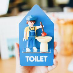 Toilet #playmobil #figure #toy #plumber #doorsign""