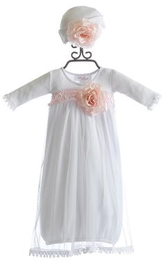 Katie Rose Fancy Layette Gown in White with Hat