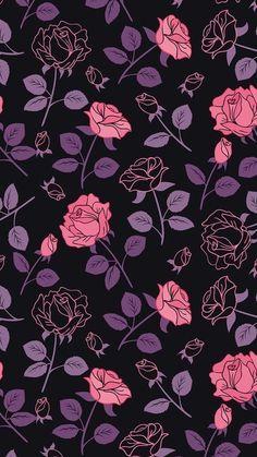 Black and purple wallpaper, purple roses wallpaper, pattern wallpaper iphon Pink And Purple Wallpaper, Trendy Wallpaper, Tumblr Wallpaper, Pretty Wallpapers, Galaxy Wallpaper, Flower Wallpaper, Screen Wallpaper, Mobile Wallpaper, Pattern Wallpaper