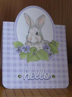 handmade Easter/Spring/greeting card ... Violet Bunny by jdmommy  ... sweet digi image  in soft colors ... gigham print paper ...